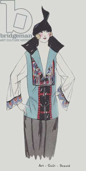 Women's fashion design from the 1920s (colour litho)