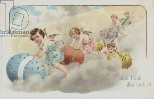 Swedish Easter greetings card depicting cherubs rolling Easter eggs. (chromolitho)