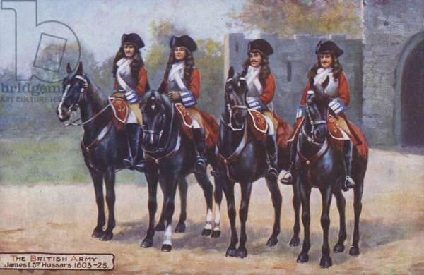 Four soldiers from the 3rd Hussars during the reign of King James I, 1603-1625 (colour litho)