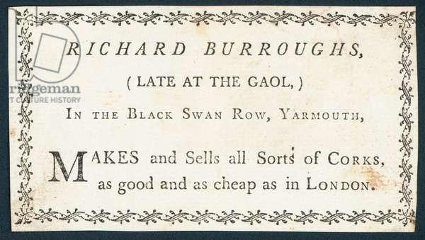 Richard Burroughs, maker and seller of corks, trade card (engraving)