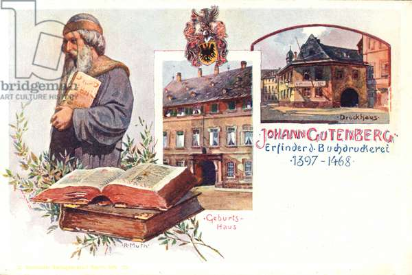 Johann Gutenberg, German inventor of the printing press (colour litho)