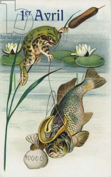 Frog fishing: April Fool's Day greetings card (chromolitho)