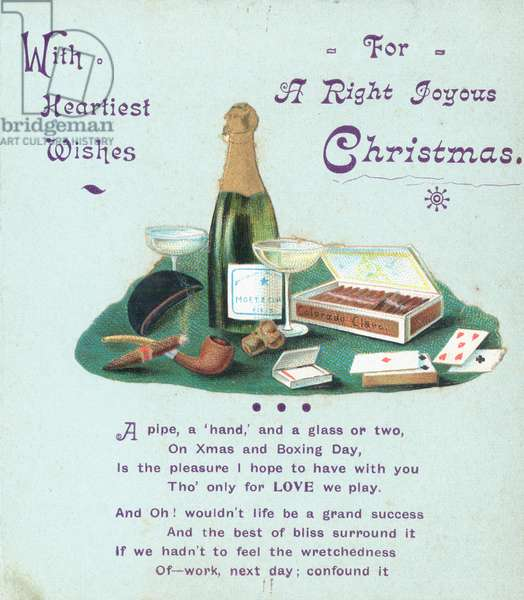 Champagne, Cigars and Playing Cards, Christmas Card (chromolitho)