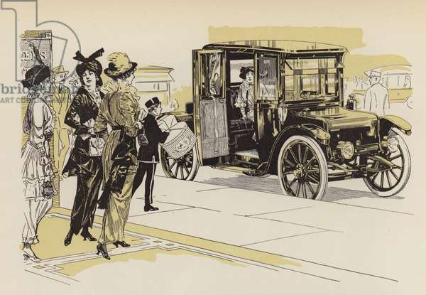 Automobile line illustrations, pre WW1 (litho)