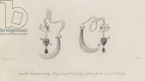Enamelled jewel presented by Mary, Queen of Scots to George Gordon, 4th Earl of Huntly (engraving)