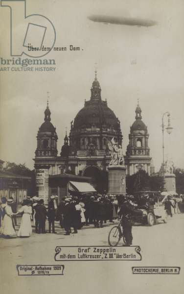 Zeppelin LZ III flying over Berlin Cathedral, 1909 (b/w photo)