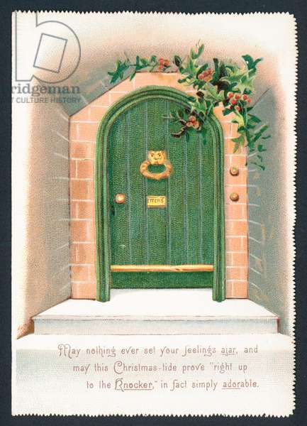 Green Door surrounded by Holly, Christmas Card (chromolitho)