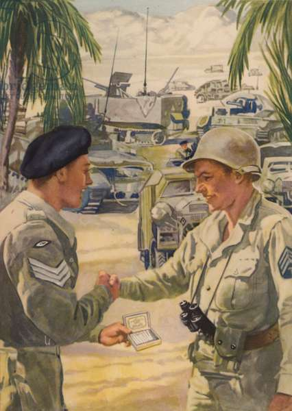 British army sergeant offering his American counterpart a cigarette as the allies meet up during the North African campaign, World War II, 1942-1943 (colour litho)