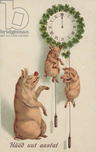 Pigs setting the time on a hanging clock (colour litho)