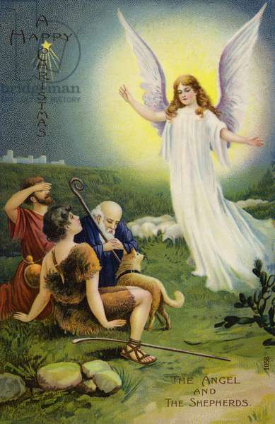 The Angel and the Shepherds (colour litho)
