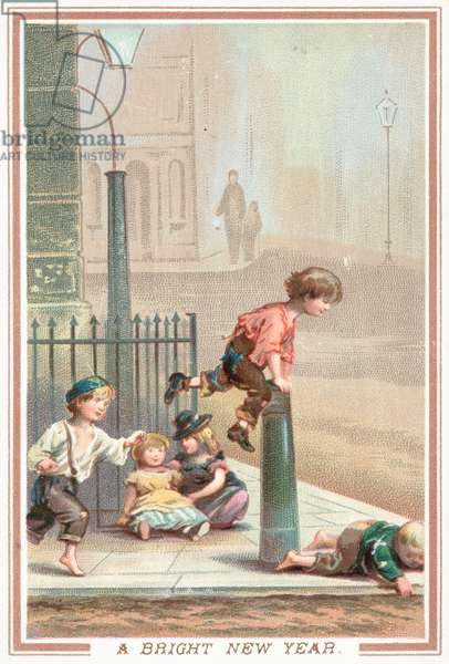 Children playing leap-frog in the street, New Year Card (chromolitho)