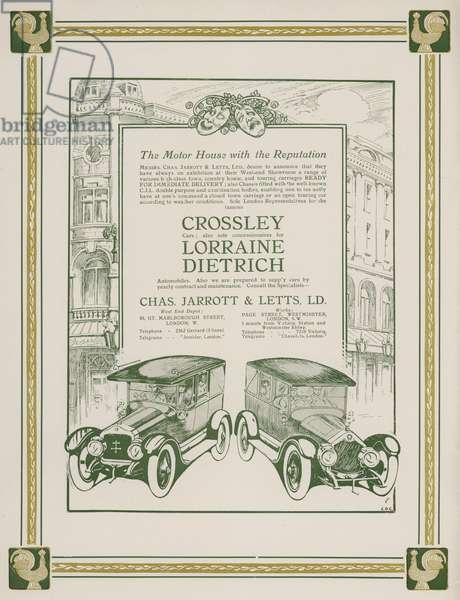 Advertisement for Charles Jarrott & Letts, Ltd, dealers in Crossley and Lorraine-Dietrich cars, London (colour litho)