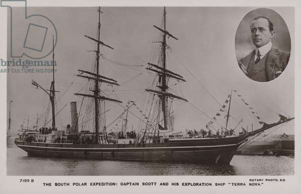 The South Polar Expedition: Captain Scott and his exploration ship Terra Nova (b/w photo)