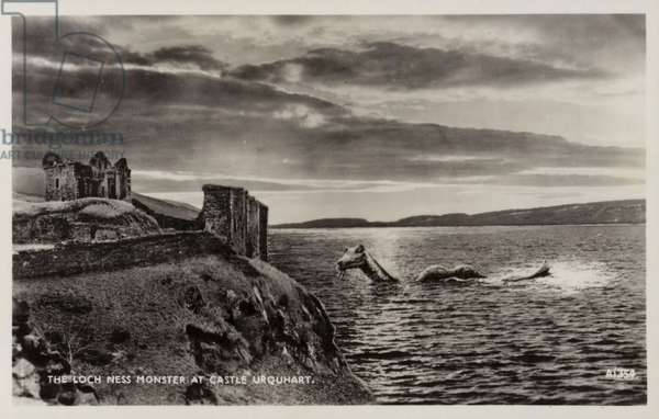 The Loch Ness Monster at Castle Urquhart (b/w photo)