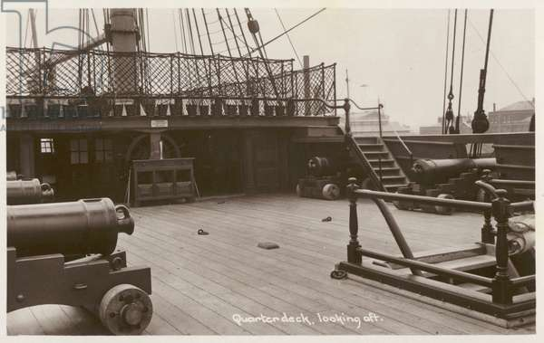 Quarterdeck of HMS Victory, looking aft (b/w photo)