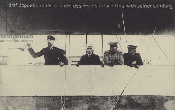 German airship constructor Graf Ferdinand von Zeppelin in the gondola of one of his airships after landing (b/w photo)