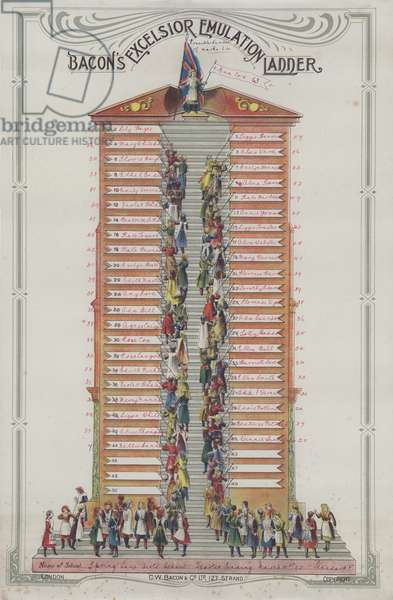 Bacon's Excelsior Emulation Ladder recording attainment in a British girls' school, 1904 (colour litho)