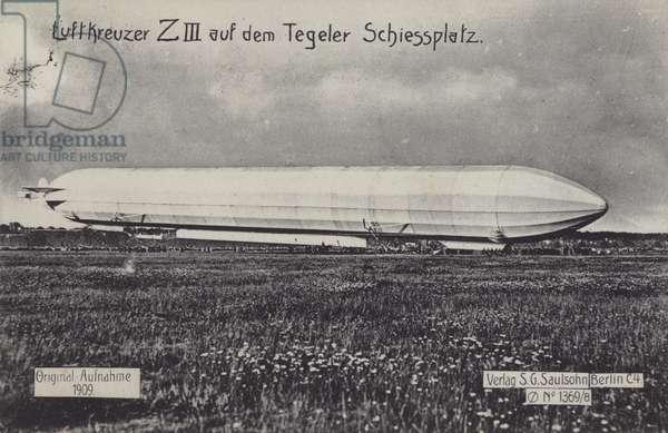 Zeppelin LZ III on the Tegel firing range, Berlin (b/w photo)