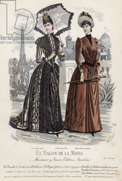 French fashion plate, late 19th century (coloured engraving)