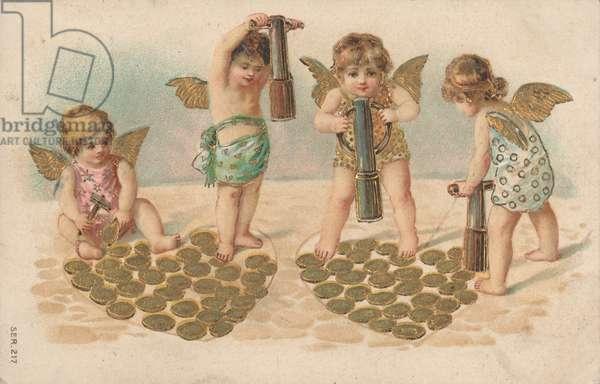 Valentine card, putti stamping hearts (chromolitho)