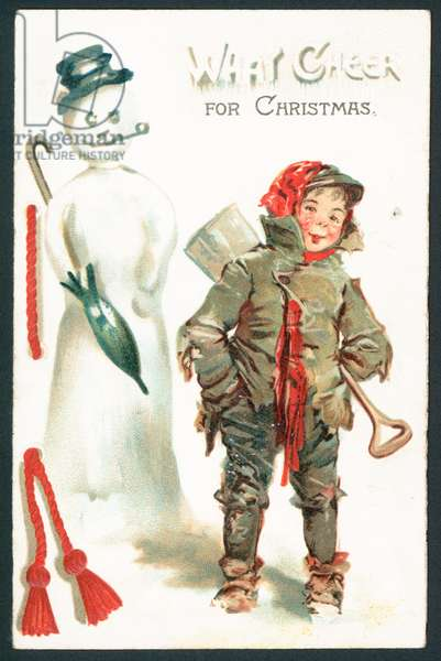 What cheer for Christmas - Victorian Christmas card (chromolitho)