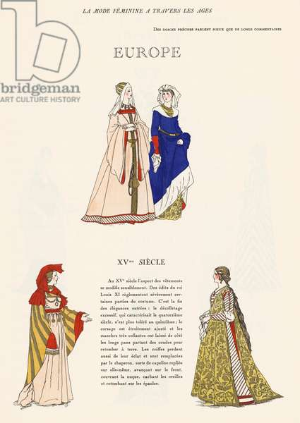 1920s depiction of European women's fashion in the 15th Century (colour litho)