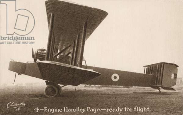 4-Engine Handley Page aircraft, ready for flight (b/w photo)