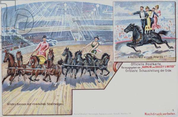 Equestrian performers of Barnum and Bailey's Circus (chromolitho)