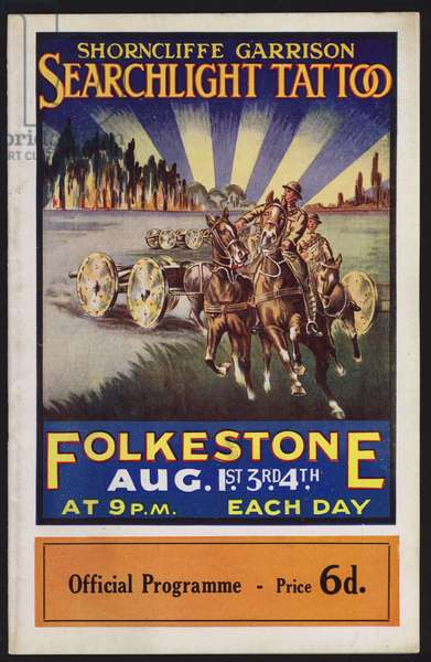 Programme for the Shorncliffe Garrison Searchlight Tattoo, Folkestone, Kent, 1925 (colour litho)