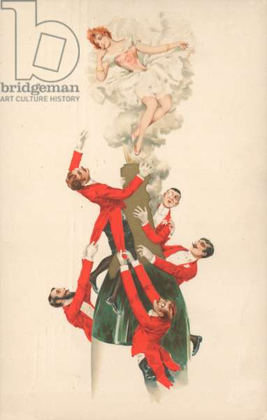 A group of red-jacketed men climbing a champagne bottle (colour litho)