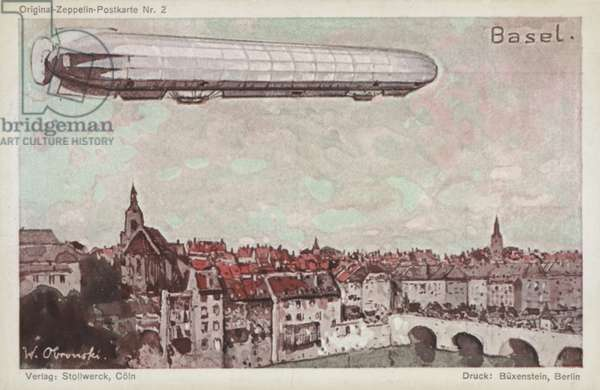 Zeppelin flying over Basel (colour litho)