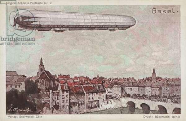 Zeppelin flying over Basel (colour litho)