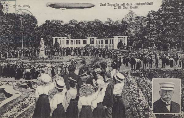 Graf Ferdinand von Zeppelin, and his airship LZ III over Berlin (b/w photo)