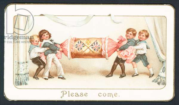 Christmas card with children pulling a cracker (chromolitho)