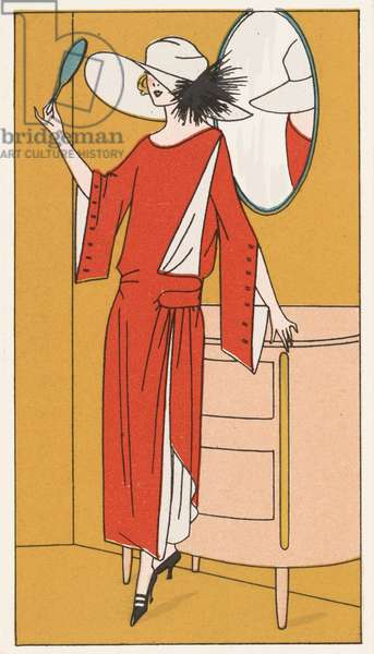 Woman wearing a red crepe dress and white hat from the 1920s (colour litho)
