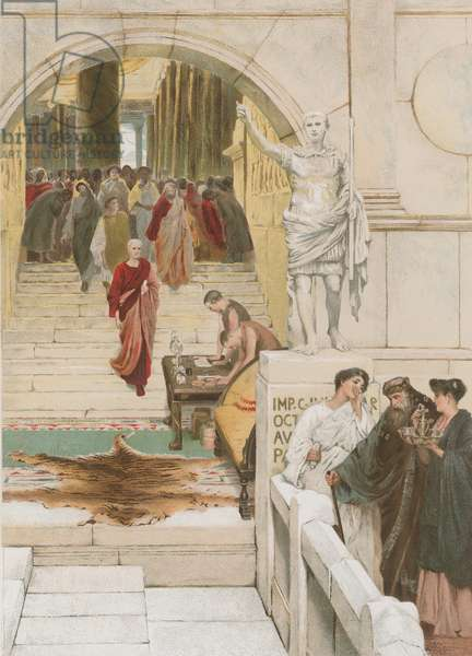 Waiting an audience with Agrippa (chromolitho)