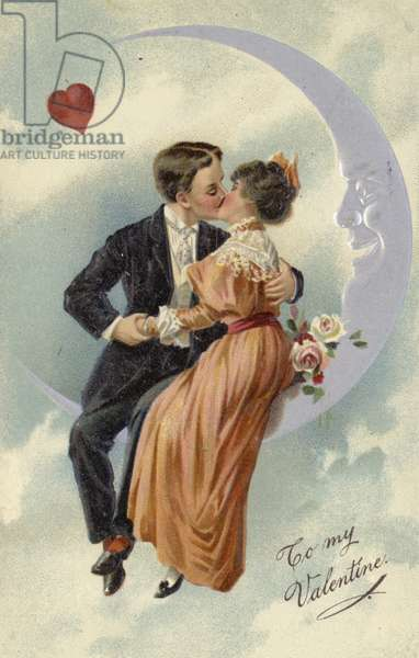 Valentine's card, involving couple kissing on the moon (chromolitho)