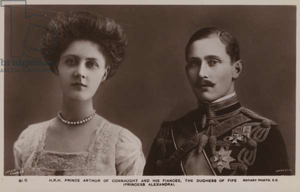 Prince Arthur Of Connaught, and his fiancee, The Duchess Of Fife (Princess Alexandra) (b/w photo)