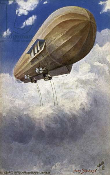 Dirigible airship of Graf Ferdinand von Zeppelin (colour litho)
