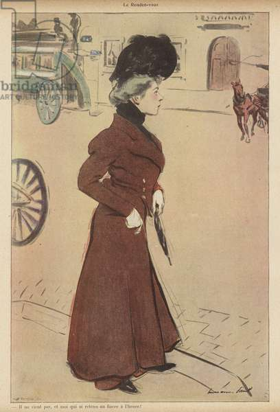 Woman stood up at a planned rendezvous (colour litho)