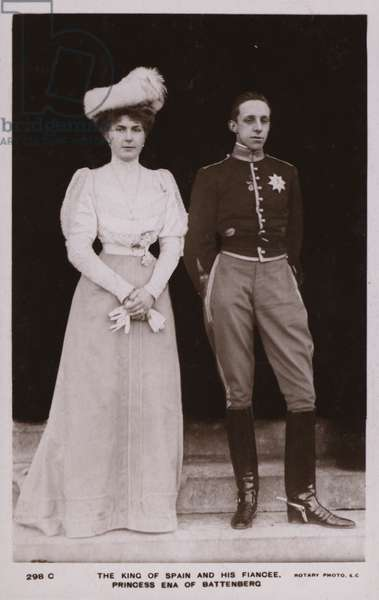 The King Of Spain, His Fiancee, Prince Ena Of Battenberg (b/w photo)