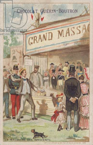 Massacre of the innocents, sideshow at a fair in France (chromolitho)