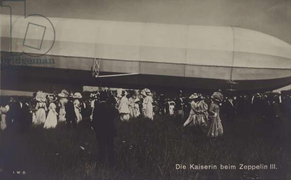 Empress Victoria Augusta of Germany with Zeppelin LZ III (b/w photo)