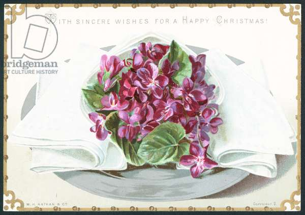 Violets, Christmas Card (chromolitho)