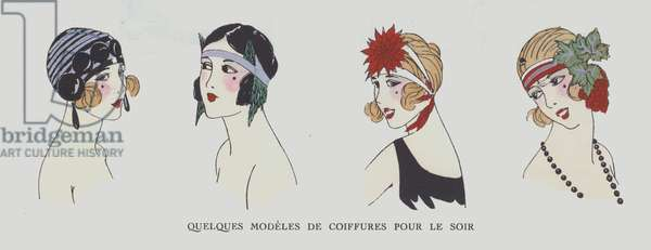 Hairstyles for evening wear from the 1920s (colour litho)