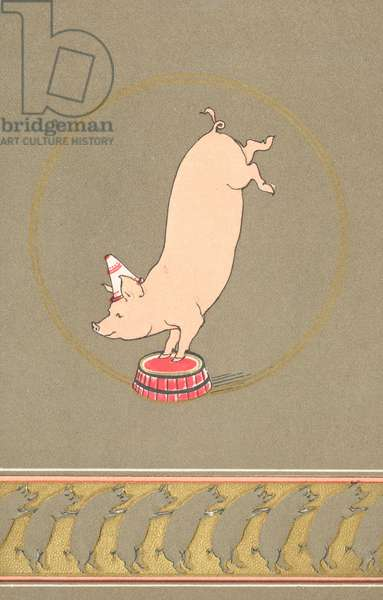 An anthropomorphic pig performing in a circus (colour litho)