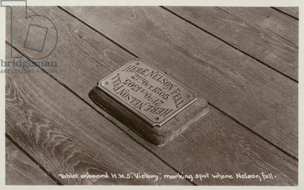 Tablet on board HMS Victory marking the spot where Nelson fell (b/w photo)