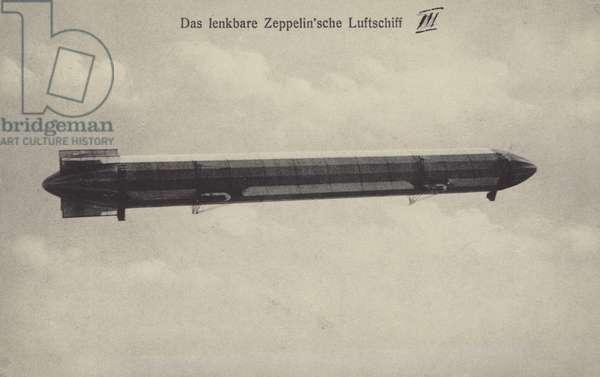 Zeppelin LZ III in flight (b/w photo)