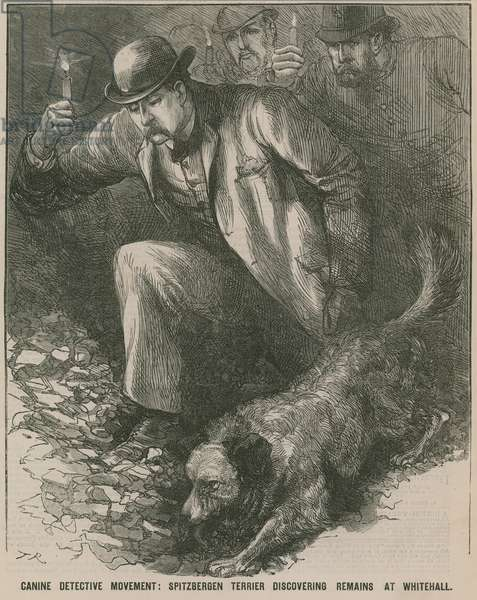 Jack the Ripper: Spitbergen terrier discovering remains at Whitehall (engraving)