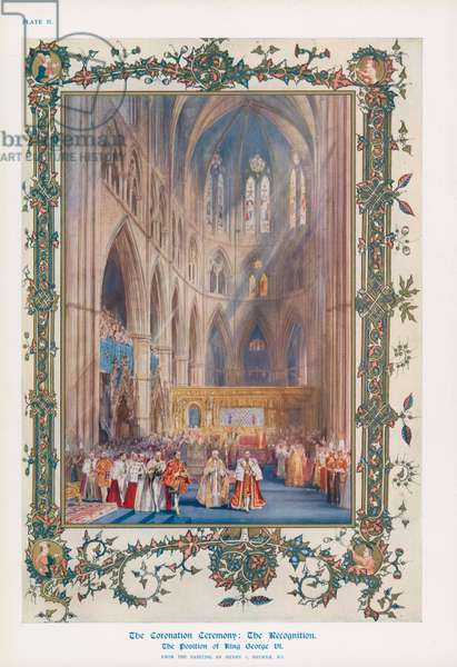 The recognition during the ceremony of the Coronation of King George VI in Westminster Abbey, London (colour litho)